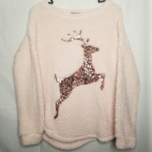 Chance Or Fate Reindeer Sequin Sherpa Sweater
